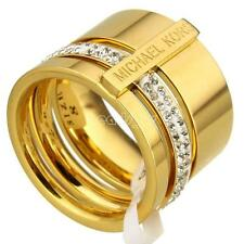 Gold Color Plated Stainless Steel Rhinestone Hollow Finger Ring Size 8 16mm