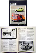 Renault 5 L & TL 1972 UK Market original Launch Press Brochure