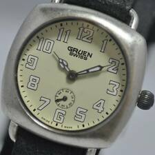 New Exotic Womans Gruen GS003-4 Swiss Made Leather Yellow Dial  Watch