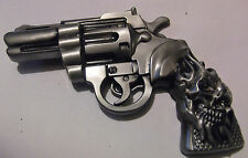 PISTOL & SKULL BELT BUCKLE - REVOLVER PISTOL - NEW GUN BUCKLE