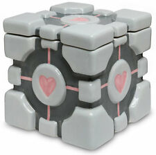 "*NEW* Portal Companion Cube 7"" Ceramic Biscuit Cookie Jar / Lid VALVE THINK GEEK"