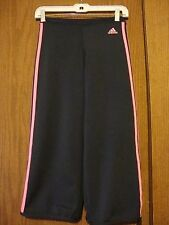 adidas Woman Clima 365 Black w/Pink Stripes Waistband Athletic Cropped Pants S