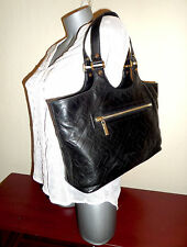 TORY BURCH Large BOMBE BLACK QUILTED Leather Tote Shoulder Bag $495