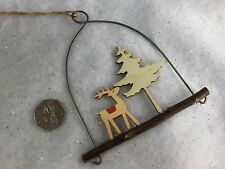 12cm Wooden Reindeer On A Log Loop Christmas Decoration Vintage Gisela Graham