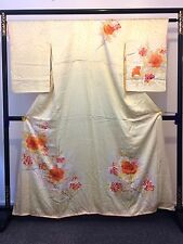 Vintage authentic handmade Japanese yellow silk kimono for women (I561)