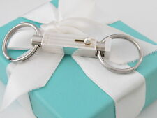 Tiffany & Co Silver Engine Turned Stripe Valet Key Ring Keychain
