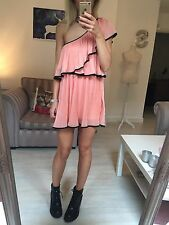 Topshop Floaty Pleated Coral Pink Black One Shoulder Dress Small 8 10