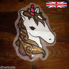 Grand À Coudre Sequins Appliqué Licorne Poney Cheval Patch Motif Étincelant