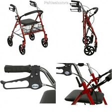 Rollator Walker With Seat 4 Wheel Folding Safety Handles Basket Chair Travel New
