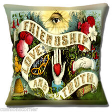 "VINTAGE RETRO 'FRIENDSHIP LOVE &TRUTH' PRINTED DESIGN 16"" Pillow Cushion Cover"