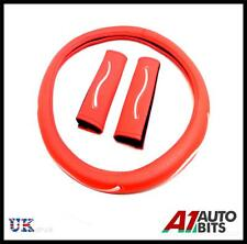 UNIVERSAL RED CAR VAN STEERING WHEEL COVER WITH SEAT BELT PADS GLOVE SLEEVE