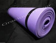 "Indoor Outdoor Exercise Yoga Mat Pilates Pad Mat 70""23""10mm Thick NonSlip Purple"
