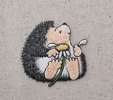 Hedgehog White Daisy - Picking Petals - Embroidered Patch - Iron on Applique