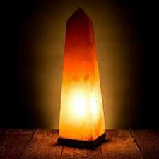 "Himalayan Salt Lamp with Wooden Base - Obelisk Shape – Peach – Approx 9"" Tall"