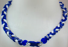 "NEW 20"" Custom Clasp Braided Sports Royal Blue White Tornado Necklace Medium"