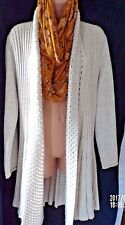 Jane Norman Size 14 Brown / Stone Long Line Fit & Flare Open Cardigan in VGC