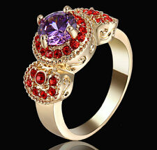 Round Purple Amethyst Ring Women's 10Kt Yellow Gold Filled Wedding Gift Size 8