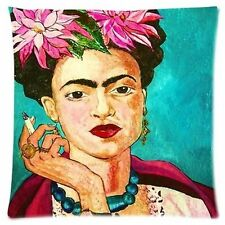 Frida Kahlo Portrait Inspired Beautiful Linen Square Pillow Cushion Cover.