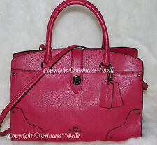 NWT! COACH Mercer 30 Satchel Grain Leather Bag Purse Handbag Cerise Pink $395