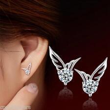 New Fashion Women Silver Jewelry Angel Wings Crystal Earrings