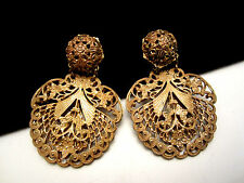 "Rare Vtg 2"" Signed Miriam Haskell Goldtone Filigree Clip On Dangle Earrings A55"