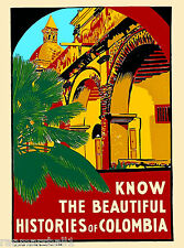 Colombia Colombian South America American Vintage Travel Advertisement Poster