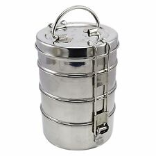 Stainless Steel Lunch Box 4 Tier Indian Tiffin Round Food Container Carrier Set