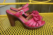 BORN Red Leather Flower Sandals Heels 8