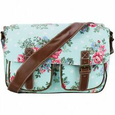 Miss Lulu Flower Blue Polka Dot Canvas Satchel Shoulder Bag Handbag Ladies Girl