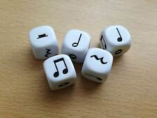 5 x 16mm White Music Six Sided Dice D6 - Music Teaching Resource D035