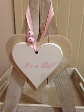 Shabby Chic Style 12cm Wooden Heart It's A Girl! New Baby Gift