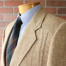 VINTAGE Beige Norfolk Hunting Multicolor Fleck Tweed Sportcoat Blazer USA 40R