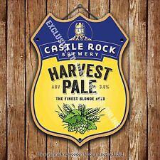 Castle Rock Harvest Pale Beer Advertising Pub Metal Pump Badge Shield Steel Sign