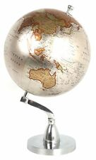 METALLO LUCIDO DECORATIVO rotazione Globe World Map 20cm DIAMETRO