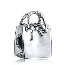 Handbag silver charms bead Fit solid 925 European Bracelet/Necklace Chain UK