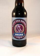 PERSONALISED CRICKET PLAYER FAN 18th 21st 30th 40th BIRTHDAY BOTTLE LABEL GIFT