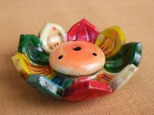 Traditional Tibetan Buddhist Incense Burner Lotus Motif Colorful Glazed Clay