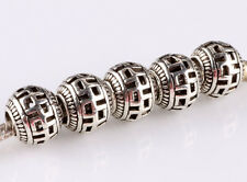 hot 5pcs retro Tibetan silver big hole beads fit Charm European Bracelet #D607