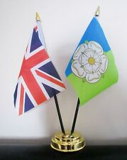 UNION JACK AND EAST RIDING OF YORKSHIRE TABLE FLAG SET 2 flags plus GOLDEN BASE