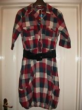 UTTAM LONDON RED NAVY WHITE CHECK BUBBLE HEM BELTED SHIRT DRESS - KNEE LENGTH S
