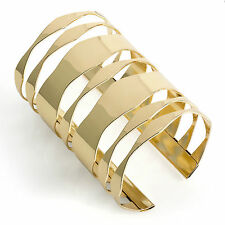 Shiny gold colour wide cuff bangle wrist bracelet wide 29986 arm
