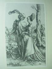 Albrecht DURER VINTAGE incisione su rame GIOVANE COPPIA minacciata da morte