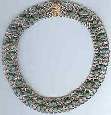 SIGNED VINTAGE MEXICO STERLING SILVER TURQUOISE MEXICAN JADE CHOKER NECKLACE