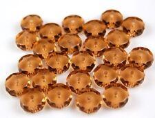 Czech Smoke Topaz Disc Faceted Fire Polished Glass Beads 5x10mm 25pcs