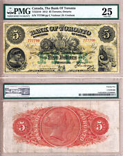Rare VF25 (Finest of 17 Known) 1912 $5 Bank of Toronto (TD Bank) Large Size