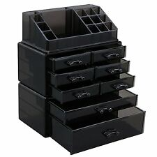 Tawny Acrylic Makeup Organizer Cosmetic Jewelry Storage Display Box 3 Pieces Set