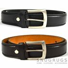 MENS LEATHER BELT SMOOTH FINISH 1.25'' MILANO BLACK BROWN MEDIUM, LARGE, XL, XXL