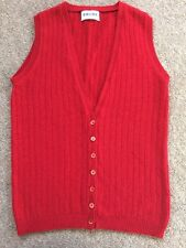 Brora gilet tank top gilet cardigan sans manches cachemire rouge taille 10