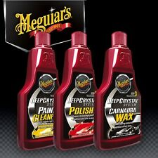 Meguiars 3 Step Crystal System, Cleaner, Polish and Wax all 473ml Brand New.