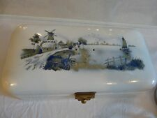 ATQ Delft Bread Box Enameled Hand Painted Metal Brass VTG Windmill Germany